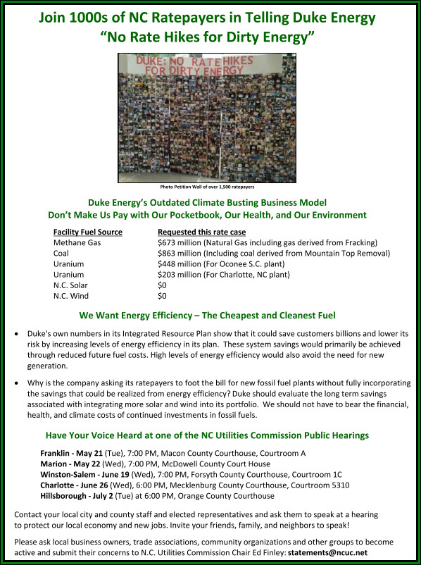 Duke Rate Hike 2013 Fact Sheet