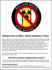 Waste Confidence Policy Talking Points