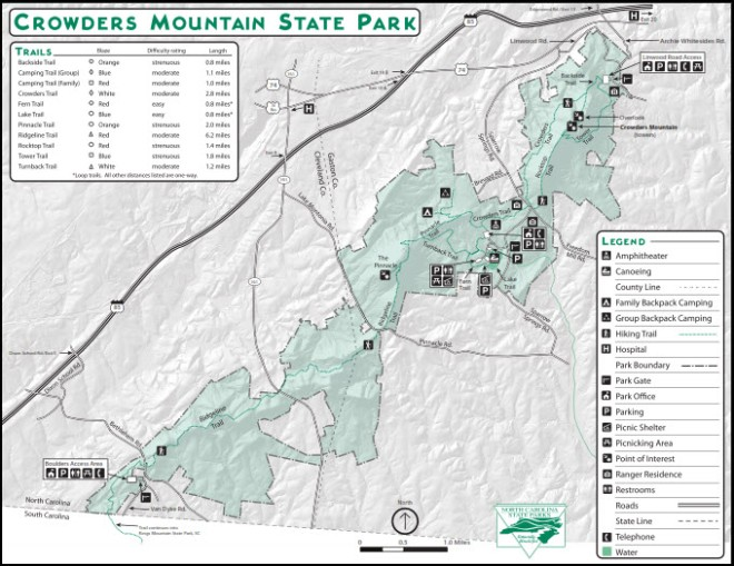 Crowders Mountain Map