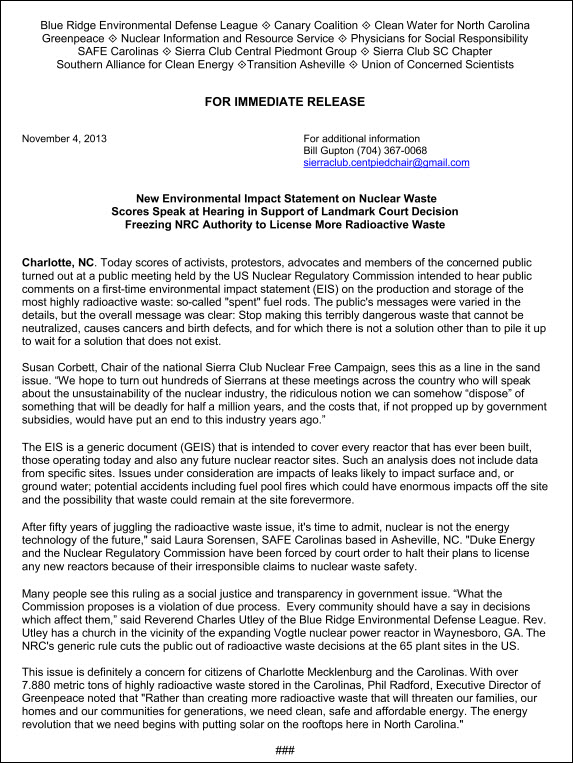 NRC Press Release Nov 4