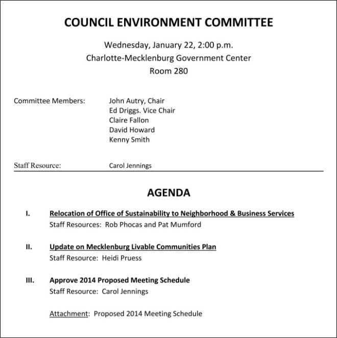 Char Eviro Comm Agenda Jan 22 2014