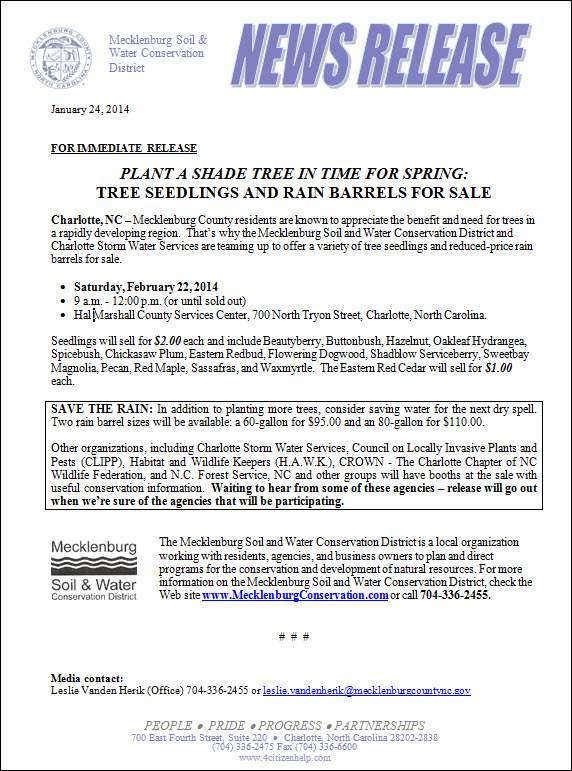 Tree Seedling Sale 2014