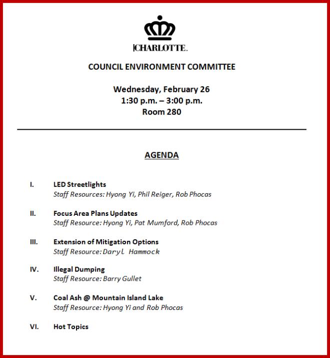 Charlotte Environment Committee Agenda Feb 26 2014