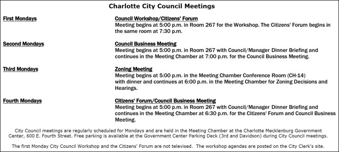 Charlotte City Council Weekly Meetings