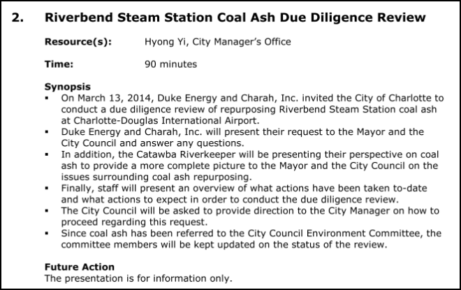 Riverbend Coal Ash City Council Meeting 03-24-14