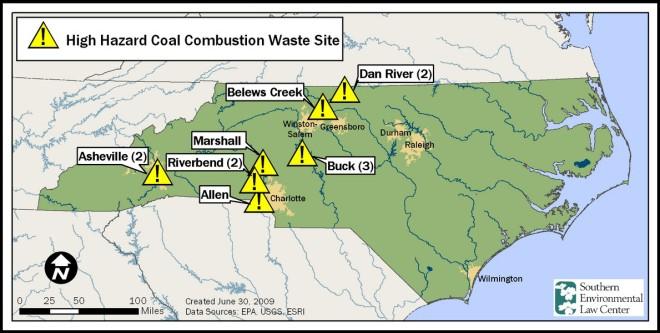 map-nc-high-hazard-coal-ash-ponds