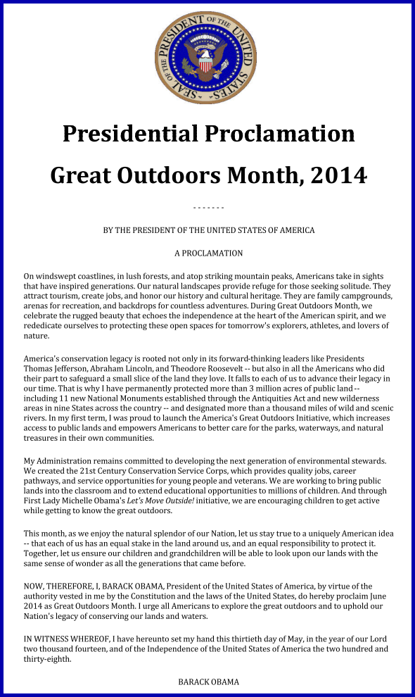 Obama Great Outdoors Month June 2014