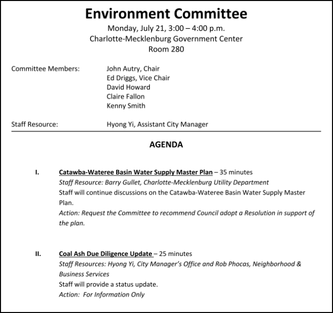 Charlotte Environment Committee Agenda July 21 2014