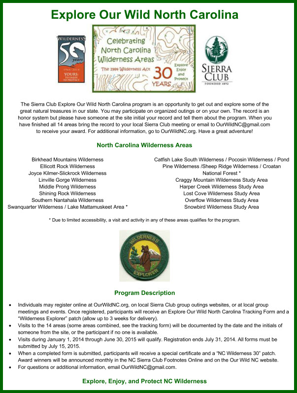 Explore Our Wild NC Flyer July 2014