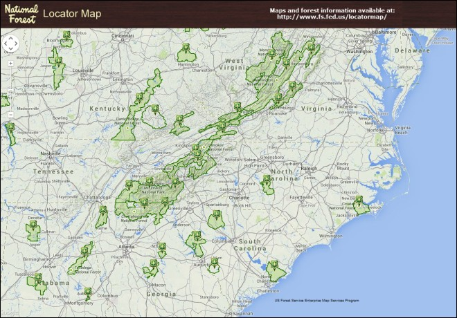 National Forest Locator Map