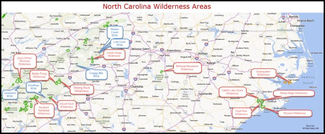 NC Wilderness and WSA Map