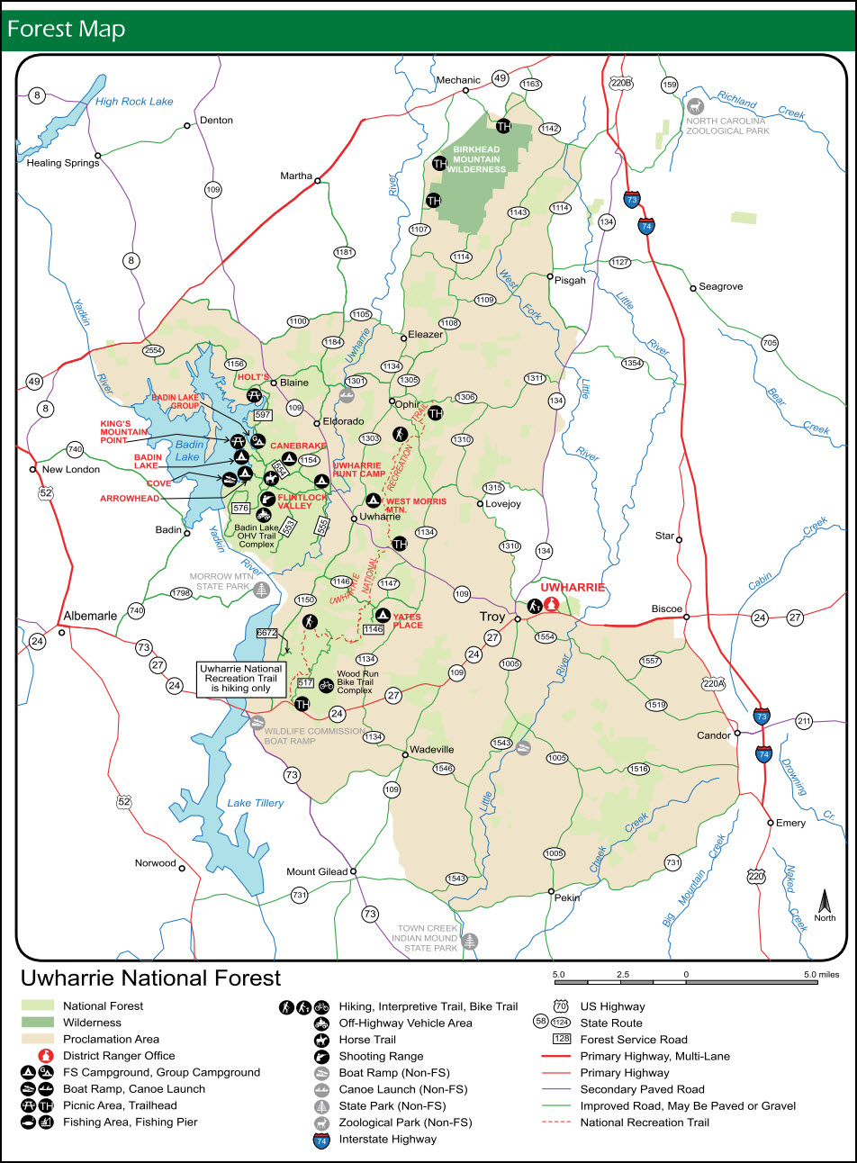 State Park Nc Map.Birkhead Wilderness Uwharrie National Forest Morrow Mountain