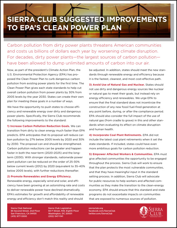 Clean Power Asks