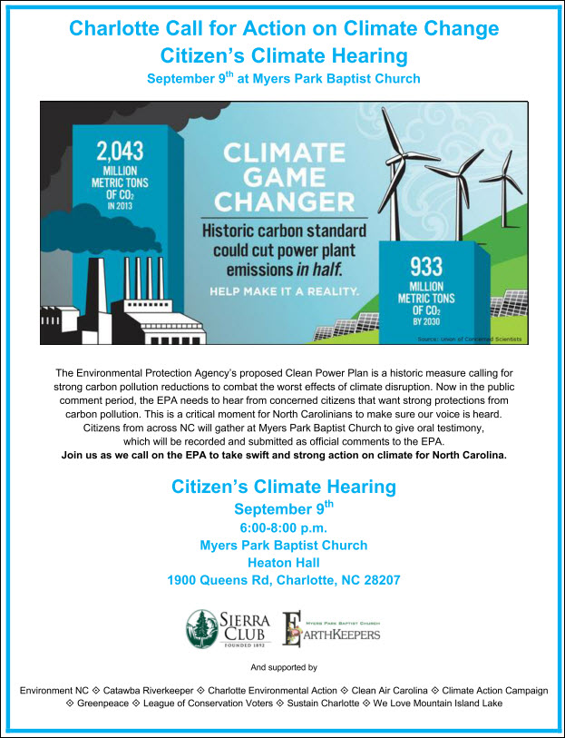 Sept 9 Call to Action on Climate Change Flyer