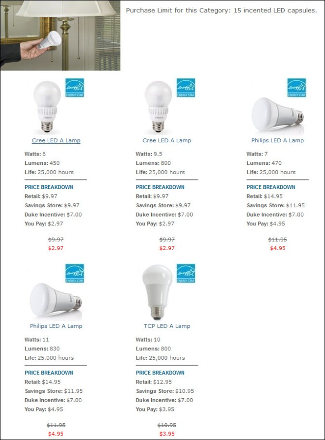 Duke EE LED bulbs