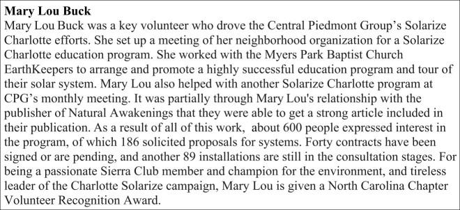 Mary Lou Buck Award