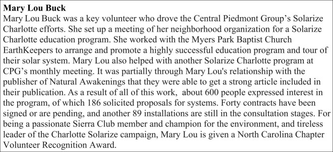 Mary Lou Buck Award